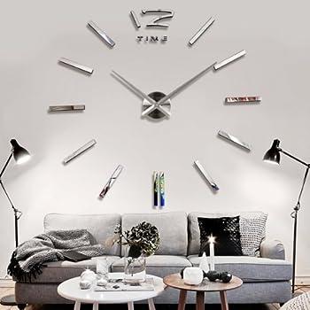 yesurprise wanduhr riesige spiegel wanduhr vinyl diy 130cm groe xxl design uhr 2 - Fantastisch Wanduhr Design Wohnzimmer