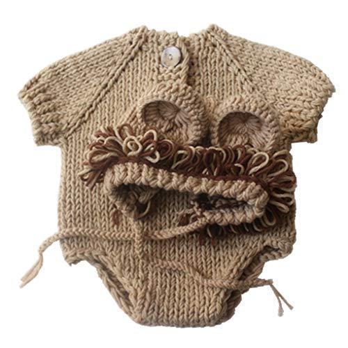 Cartoon-Löwe-Art-Breathable Strickwolle Hut Kleidung Anzug Neugeborene Fotografie Outfits Kleidung ()