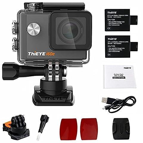 ThiEYE I60e Caméra Action de Sport Ultra HD Wifi 12MP 2.0 Pouces Ecran 170°Lentille Grand Angle 360°Boucle Rotative 60M Etanche Caméra Embarquée Sport avec 2 Batteries