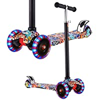 OUTCAMER Kick Scooter for Kids 3 Wheels Scooter, Adjustable Handlebar, Kids Scooter with LED Light Up Wheels, Gifts for Girls Boys Age 3 to 12, Support 100Lbs