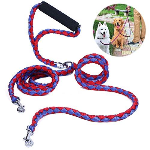 Hundeleine Doppelleine, PETBABA 1.4m Lang Keine Verwicklung Gepolsterter Griff Geflochten Nylon Training Hunde Leine für 2 Hunde Rot-Blau