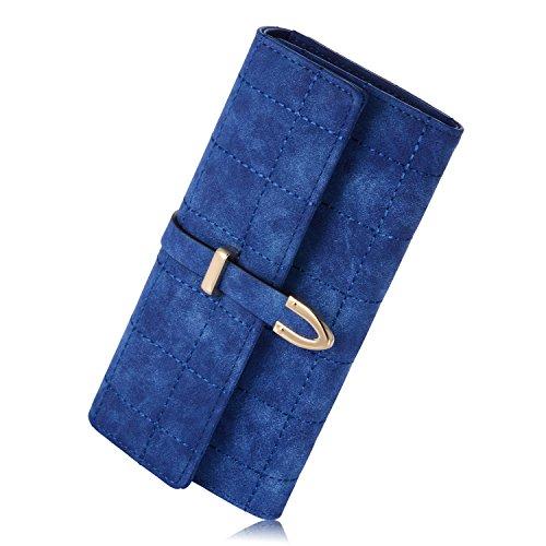 newland-womens-long-grid-buckle-leather-handbag-card-holder-purse-wallet-dark-blue