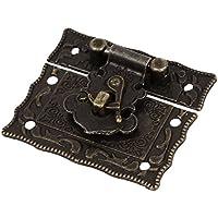 Pestillo de estilo antiguo - SODIAL(R)Pestillo Cerrojo Cierre Corchete de rectangulo de Caja de pecho Caja de madera Tono de bronce