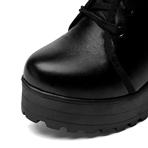 AgooLar Damen Schnüren Rund Zehe Hoher Absatz Niedrig-Spitze Stiefel Schwarz