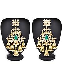 Luxor Fashion Jewellery Stylish Fancy Party Wear Kundan Pearl Dangler Jhumkhi Earrings For Women And Girls