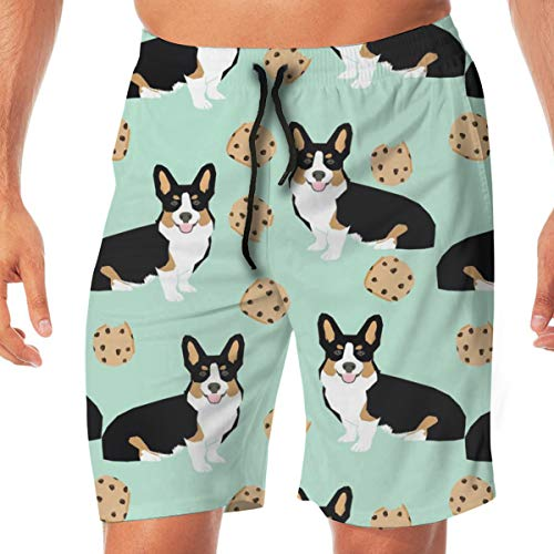 Tricolored Corgi Dog Dogs and Cookies Mint Surfing Pocket Elastic Waist Men's Beach Pants Shorts Beach Shorts Swim Trunks Small (Knit Classic Golf)