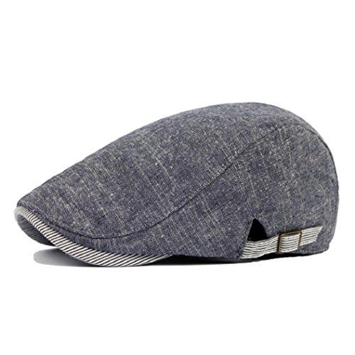 Bodhi2000 Mens Retro Cotton Duckbill Hat Sunhat Hip Hop Beret Newsboy Caps - Denim Blue