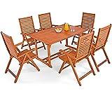 Deuba® Sitzgruppe Unikko 6+1 | FSC®-zertifiziertes Eukalyptusholz klappbar 7-TLG Tisch | Sitzgarnitur Holz Gartenmöbel