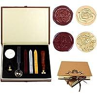Dsaren Kit de Sello de Cera Retro Sello de Lacre con 2 Sello Latón Cera Cuchara y Caja de Regalo (Para ti+ rosa)