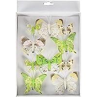 Heitmann Deco - Schmetterlinge mit Clip zur Befestigung - 10-teiliges Deko-Set in grün, weiß und braun - verschiedene Größen