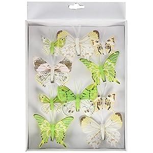 HEITMANN DECO Schmetterlinge mit Clip – Deko 3D, Frühling, Ostern – Verschiedene Größen – 10-teiliges Deko-Set, Grün…