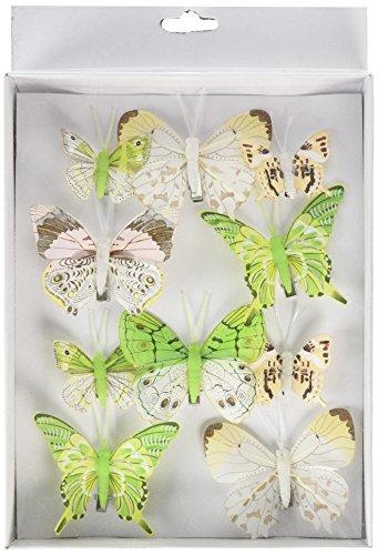 Heitmann Deco - Schmetterlinge mit Clip zur Befestigung - 10-teiliges Deko-Set in grün, weiß und braun - verschiedene Größen Feder-clip