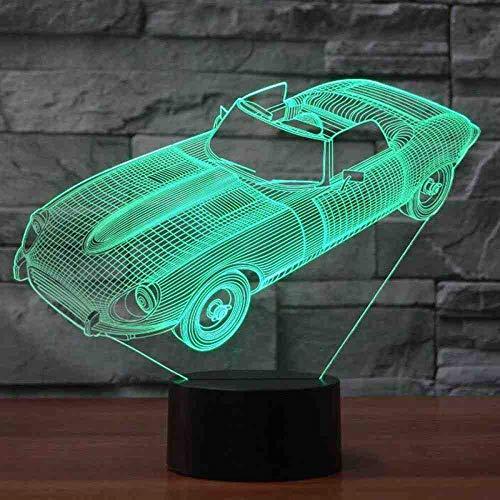 CDBAMX Forma de Coche Deportivo 3D Lámpara de Escritorio Visual Niños Botón Táctil Led Night Night Usb Convertible Sueño del Bebé Iluminación Decoración para el Hogar Regalos de Navidad