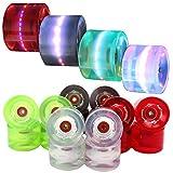4 Stück LED FunTomia® Longboard/Skateboard Rollen (Big Wheels) in 70x51mm 80A inkl. Mach1® Kugellager
