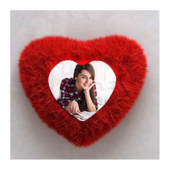 AASTHA IMAGINE Personalized Red Heart Shape Fur Pillow' with Your Photos and Messages