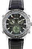 Exklusive Edelstahl Armbanduhr Herrenarmbanduhr mit Analoger und Digitaler Anzeige Double Time Big Banger mit Lederarmband in Schwarz