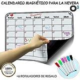 O³ Calendario Magnetico Nevera + 6 Colores Para Marcar - Pizarra Magnética Nevera Mensual – Organizador Frigorifico – Tareas – Exámenes - Eventos | Planificador Mensual Para Toda La Familia En Español