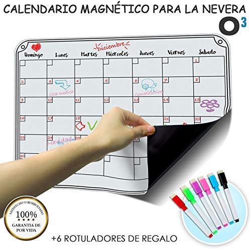 O³ Calendario Magnetico Nevera + 6 Colores Para Marcar - Pizarra Magn