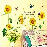 Anself Luce del sole girasole Farfalla Danza in estate Bella smontabile Child Room Decor Decal Wall Stickers DIY Kid
