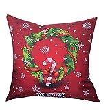 Luckycat Weihnachten Kissen Frohe Weihnachten Print Kissenbezug Leinen Baumwolle Sofa Kissenbezug Home Decor (A)