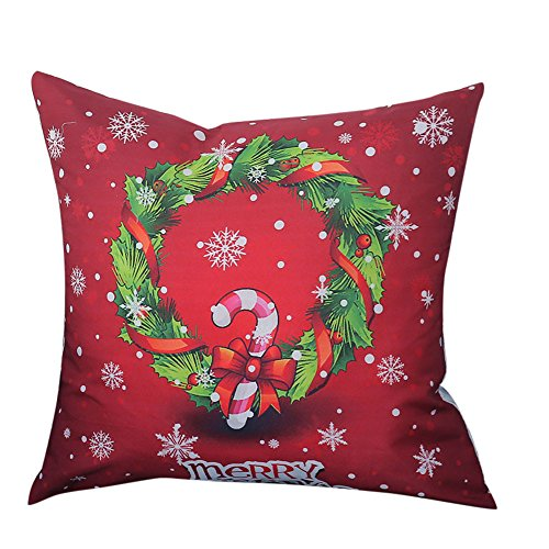 Print-dekorative Wurfs-kissen (Luckycat Weihnachten Kissen Frohe Weihnachten Print Kissenbezug Leinen Baumwolle Sofa Kissenbezug Home Decor (A))