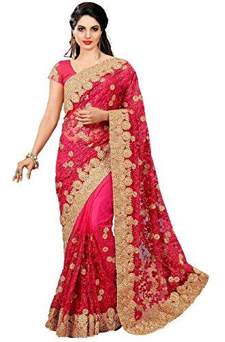 Panash Trends Women\'s Heavy Net Saree (UJJ.K598A_Pink Color) …