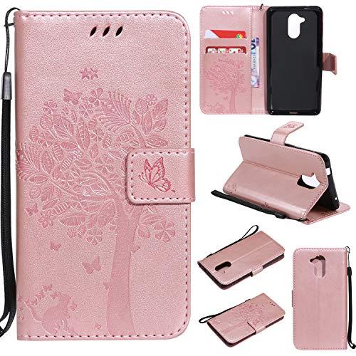 kelman Hülle für Huawei Honor 7i / Huawei ShotX Hülle Schutzhülle PU Leder + Soft Silikon TPU Innere Schale Mode Prägung Brieftasche Flip Halterung Handyhülle - [KT12 - Roségold]