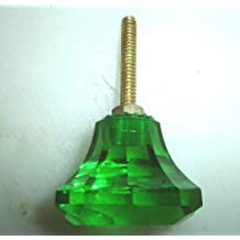 Pequeño verde cristal tallado tiradores de cajones & (Pomos)