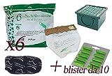 Sacchetti in Microfibra per vk130 - vk131 + Profumini al Pino + Filtro Carboni + Filtro Hepa (6 Sacchetti + 10 Profumini + 1 Carboni + 1 Hepa)