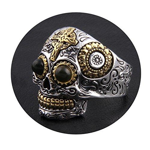 SonMo 925 Sterling Silber Ring Kreuz Schädel Bicolor Totnkopf mit Blumen Muster Ringe Silber Stein Siegelring Zum Gravieren Silber Große:60 (19.1)
