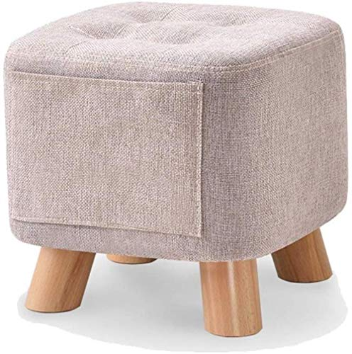 THBEIBEI Schuhbank Polsterhocker ShoeBench Ruhebank Sofa Hocker Ottoman Cube Pouffe Wohnzimmer-Sofa Hocker aus Holz Beine Platz Low Hocker, 28 * 28 * 28cm (Color : Gray, Size : Beech)