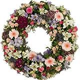Corona funeraria de flor natural 50 cm en tonos pastel + cinta con dedicatoria personalizada, entrega urgente en tanatorio y velatorio