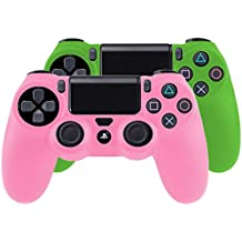 Bundle - 2x Funda Cubierta de silicona para PlayStation 4 / PS4 Dualshock 4 Controller Controlador Mandos, rosa + verde