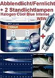 Osram Nightbreaker Plus H7 Duo Pack 64210NBP 2. Generation (2 Stück Glühbirnen) + 2 Stück Osram 2825CB W5W Cool Blue Standlichtern