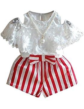 Vestidos niñas, Switchali Niños Bebé Niña Verano moda Manga corta algodón encaje camisa + bowknot rayas pantalones...