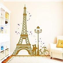 """Wandtattoo Loft Pegatina de pared """"Torre Eiffel París con Pareja de Enamorados"""" - bicolor / 49 colores / 4 tamaños - 55 x 74 cm, Vinilo, azul oscuro"""