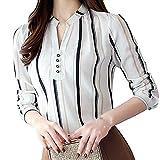 Feitong Damen T-Shirt Frauen Mode Gestreifte Lange Ärmel Bluse Chiffon T-Shirt-Taste Top(EU-44/CN-3XL, Weiß)