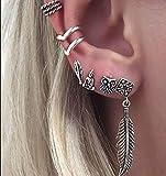 MTSZZF 6 Unids/Set Boho Owl Buddha Feather Hueco Ear Cuff Ear Stud Cartilage Pendientes - Plata Antigua