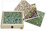 großes Geschicklichkeitsspiel - Geduldsspiel aus Holz / Spiel mit 4 verschiedenen Spielplatten - für Kinder & Erwachsene - Holz Labyrinth - Kugel Motorikspiel