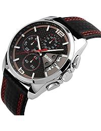 Reloj Deportivo Reloj de Cuarzo Relojes Hombre Impermeable Cronógrafo Calendario Correa de Cuero Relojes de Lujo Relojes de Los Hombres,Rojo
