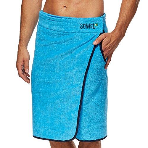 SOWEL® Saunakilt und Saunatuch für Herren, Strandkilt und Strandtuch, 100% Baumwolle mit Klettverschluss, Seitentasche und kleiner Reißverschlusstasche, Farben Blau, Grau, Navy, Weiß