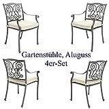 Made for us 4 Gartenstühle aus wetterfestem Aluguss mit UV beständiger AkzoNobel Einbrennlackierung. Inkl. 4 waschbaren Sitzkissen. Platzsparend stapelbar. Das Original