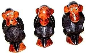 AFRIQUE ART DECORATION -Singes, les trois sage en teck TSS1