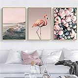 SWECOMZE 3er Set Kinderzimmer Babyzimmer Poster Bilder Waldtiere Safari Skandinavisch,Flamingo