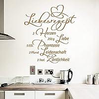 Grandora W766 Wandtattoo Spruch Liebesrezept I Schwarz 58 X 64 Cm I Küche  Esszimmer Selbstklebend Aufkleber