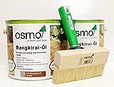 AB.Bauconcept GbR© Kombiangebot: Osmo Bangkirai-Öl Dunkel 016 5 Liter und Osmo Fußbodenstreichbürste 150 mm