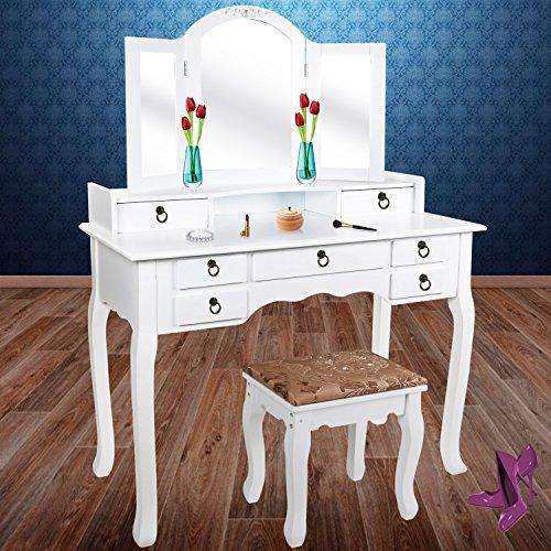 Kesser Schminktisch Kosmetiktisch Frisierkommode Spiegel Schubladen Hocker | Schminkspiegel | Stylingstation | Farbe: Weiß,...
