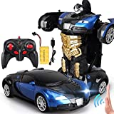 FVYLY 2.4ghz Radio Remote Control Robot Transformer Voiture électronique RC Véhicules One Button Tranforming Racing télécommande Cars for Les Enfants Cadeau (Color : Black Blue)