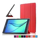 Infiland Samsung Galaxy tab A 9.7 Funda Case-Ultra Delgada Tri-Fold Smart Case Cover PU Cuero Smart Cascara con Soporte para Samsung Galaxy Tab A 9.7 T550N/ T555N 24,6 cm WiFi/LTE Tablet-PC (9,7 pulgadas) (con Auto Reposo / Activación Función)(Rojo)