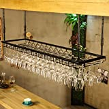 Briskaari Shop- Titulaire de verre à vin créatif en fer forgé suspendu rouge porte-verre de vin Tenture murale européenne inversé porte-gobelet de vin (Couleur : Noir, taille : L 120cm*35cm)